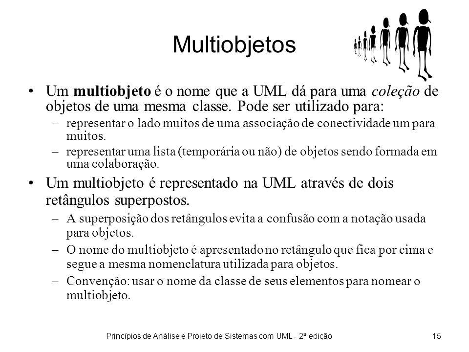 Princípios de Análise e Projeto de Sistemas com UML - 2ª edição16 Notação para multiobjetos Uma multiobjeto é representado graficamente na UML através de dois retângulos superpostos.