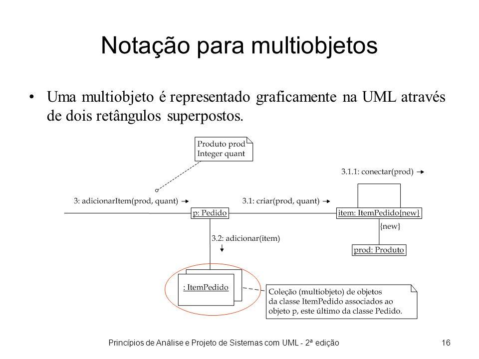 Princípios de Análise e Projeto de Sistemas com UML - 2ª edição17 Mensagens para Objetos/Coleção Uma mensagem pode ser enviada para um multiobjeto, ou pode ser enviada para um único objeto (elemento) do multiobjeto.