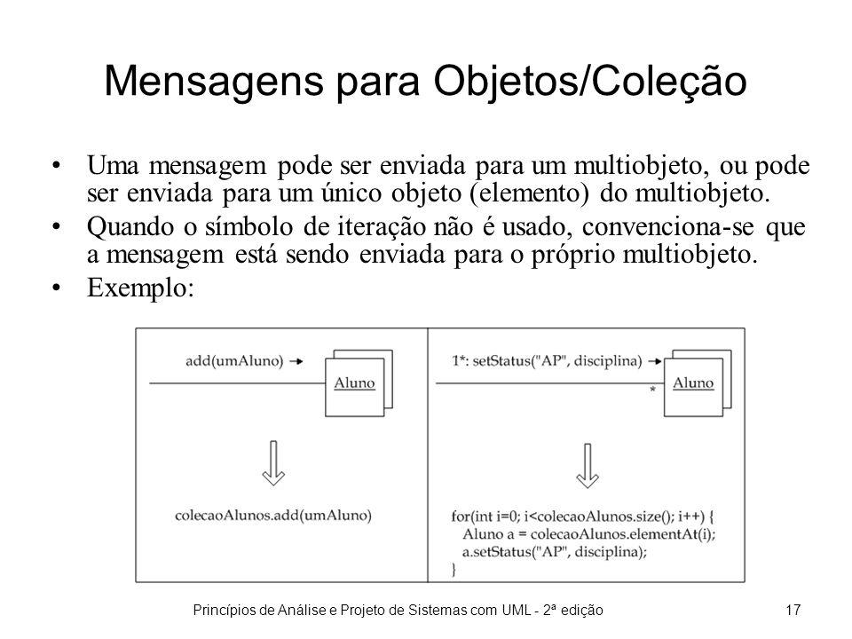 Princípios de Análise e Projeto de Sistemas com UML - 2ª edição18 Implementação de multiobjetos Multiobjetos são normalmente implementados através de alguma estrutura de dados que manipule uma coleções.
