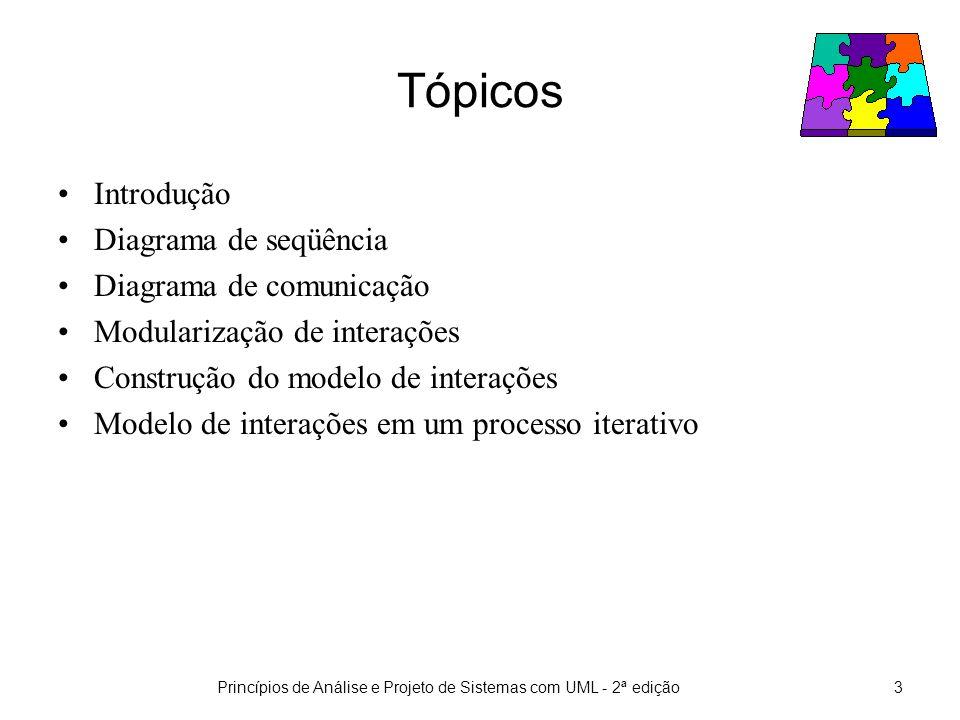 Princípios de Análise e Projeto de Sistemas com UML - 2ª edição4 Introdução O objetivo dos modelos vistos até agora é fornecer um entendimento do problema correspondente ao SSOO a ser desenvolvido.