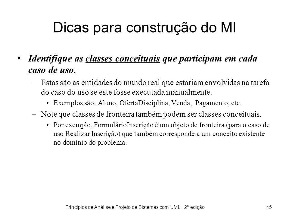 Princípios de Análise e Projeto de Sistemas com UML - 2ª edição46 Dicas para construção do MI (cont) Identifique quaisquer classes de software que ajudem a organizar as tarefas a serem executadas.