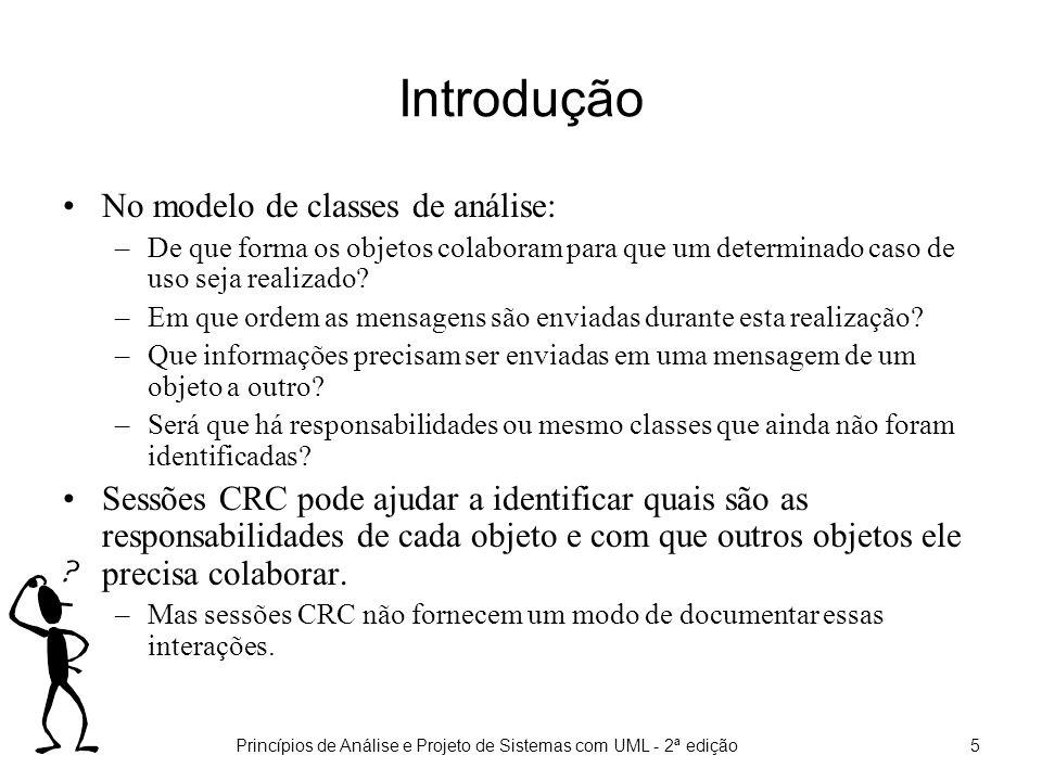 Princípios de Análise e Projeto de Sistemas com UML - 2ª edição6 Introdução Para responder às questões anteriores, o modelo de interações deve ser criado.