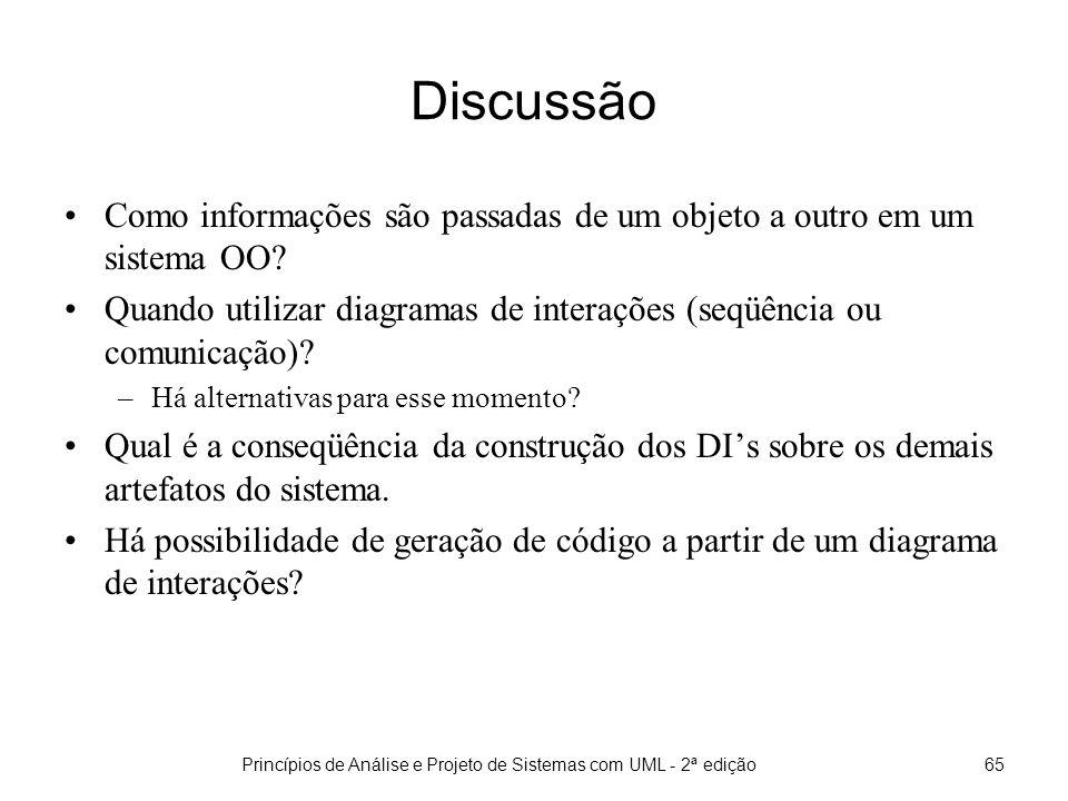 Princípios de Análise e Projeto de Sistemas com UML - 2ª edição65 Discussão Como informações são passadas de um objeto a outro em um sistema OO.
