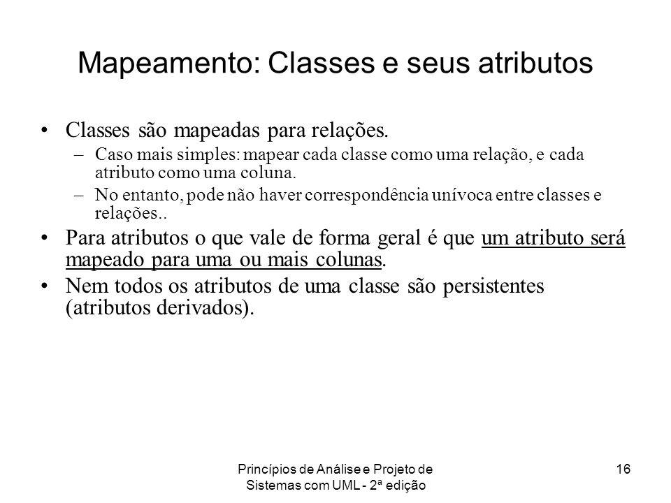 Princípios de Análise e Projeto de Sistemas com UML - 2ª edição 16 Mapeamento: Classes e seus atributos Classes são mapeadas para relações. –Caso mais