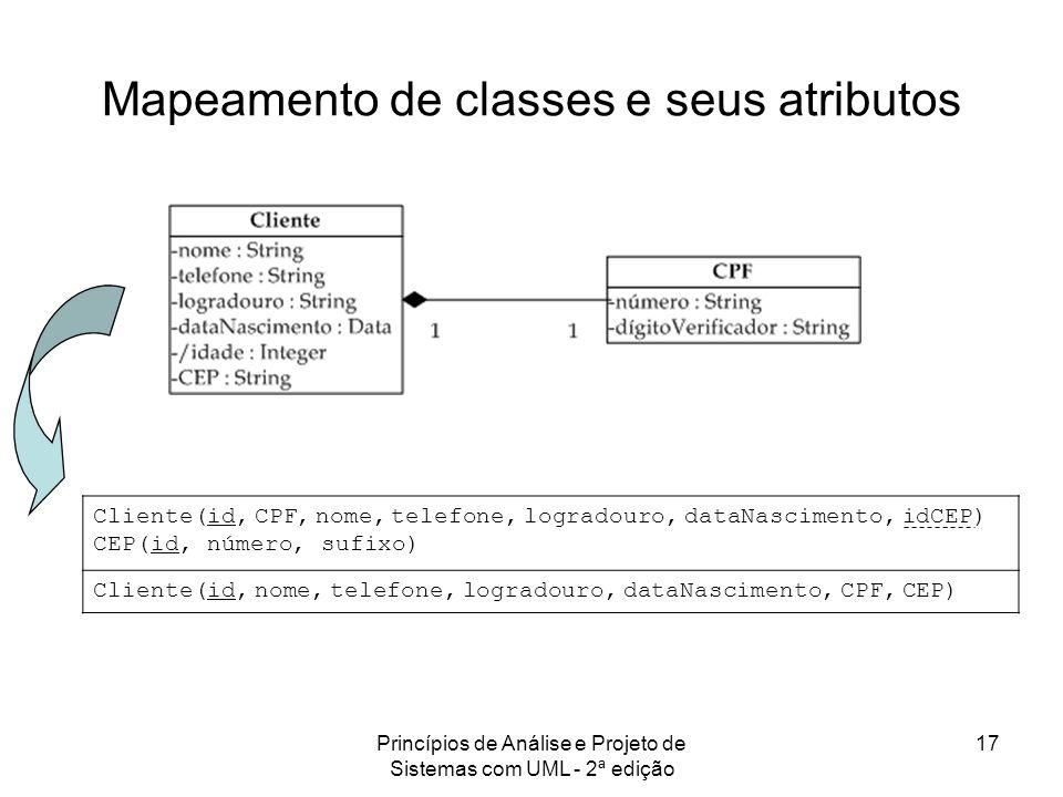 Princípios de Análise e Projeto de Sistemas com UML - 2ª edição 17 Mapeamento de classes e seus atributos Cliente(id, CPF, nome, telefone, logradouro,