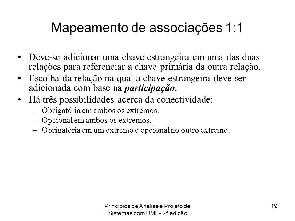 Princípios de Análise e Projeto de Sistemas com UML - 2ª edição 19 Mapeamento de associações 1:1 Deve-se adicionar uma chave estrangeira em uma das du
