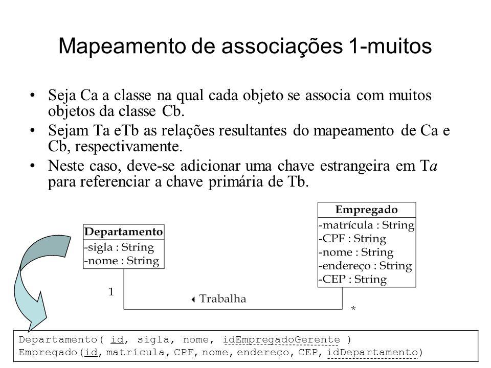 Princípios de Análise e Projeto de Sistemas com UML - 2ª edição 21 Mapeamento de associações 1-muitos Seja Ca a classe na qual cada objeto se associa