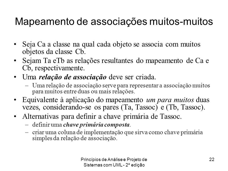 Princípios de Análise e Projeto de Sistemas com UML - 2ª edição 22 Mapeamento de associações muitos-muitos Seja Ca a classe na qual cada objeto se ass