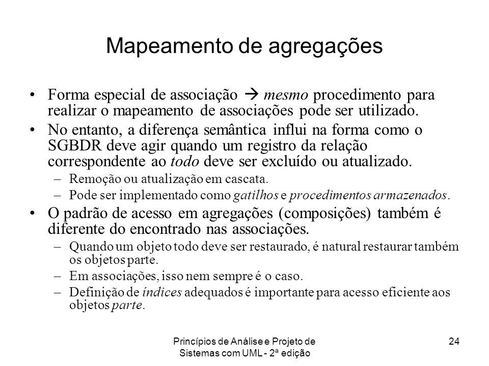 Princípios de Análise e Projeto de Sistemas com UML - 2ª edição 24 Mapeamento de agregações Forma especial de associação mesmo procedimento para reali