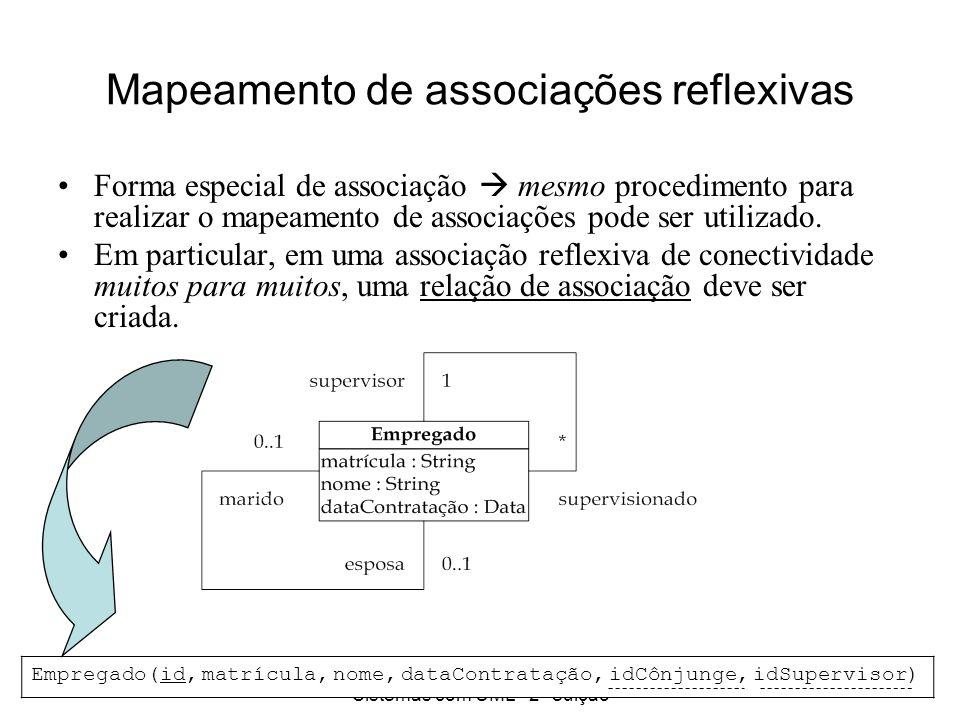 Princípios de Análise e Projeto de Sistemas com UML - 2ª edição 25 Mapeamento de associações reflexivas Forma especial de associação mesmo procediment
