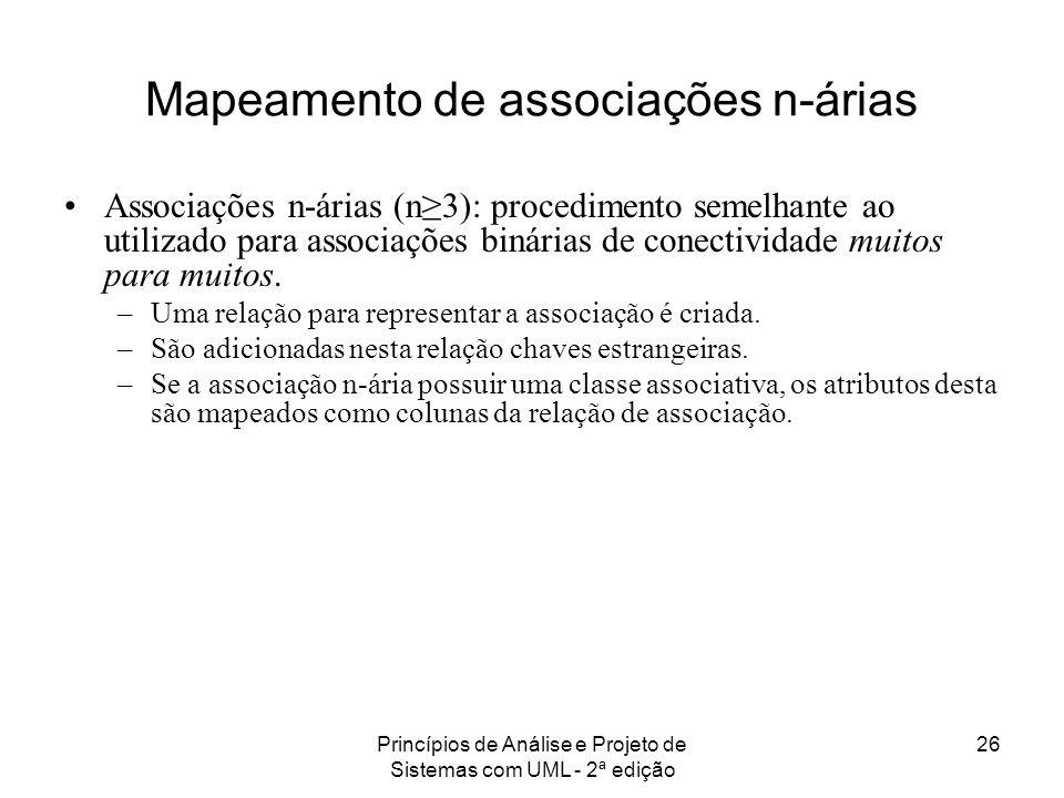 Princípios de Análise e Projeto de Sistemas com UML - 2ª edição 26 Mapeamento de associações n-árias Associações n-árias (n3): procedimento semelhante