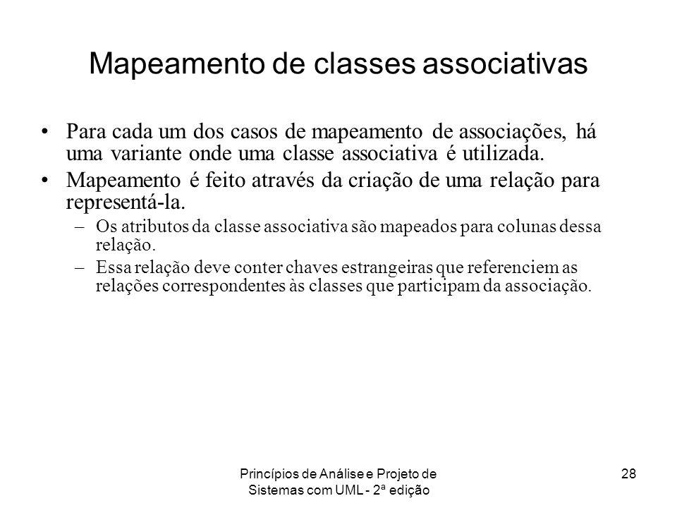 Princípios de Análise e Projeto de Sistemas com UML - 2ª edição 28 Mapeamento de classes associativas Para cada um dos casos de mapeamento de associaç
