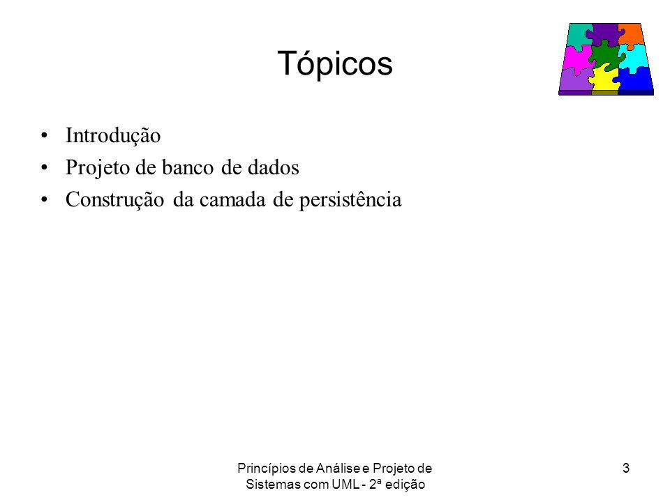 Princípios de Análise e Projeto de Sistemas com UML - 2ª edição 3 Tópicos Introdução Projeto de banco de dados Construção da camada de persistência