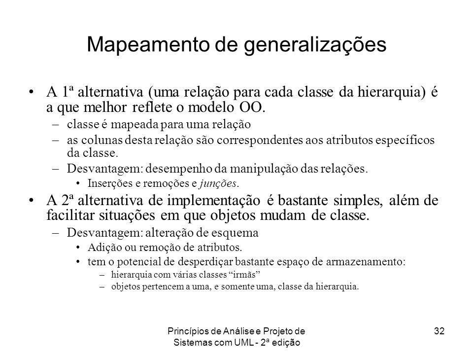 Princípios de Análise e Projeto de Sistemas com UML - 2ª edição 32 Mapeamento de generalizações A 1ª alternativa (uma relação para cada classe da hier