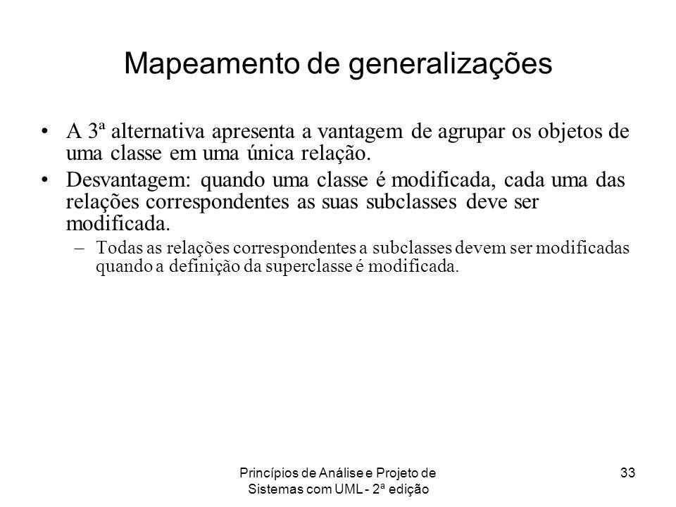 Princípios de Análise e Projeto de Sistemas com UML - 2ª edição 33 Mapeamento de generalizações A 3ª alternativa apresenta a vantagem de agrupar os ob
