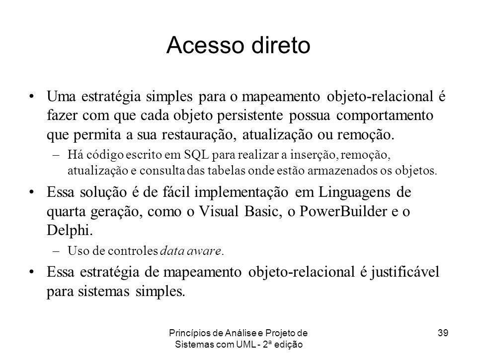 Princípios de Análise e Projeto de Sistemas com UML - 2ª edição 39 Acesso direto Uma estratégia simples para o mapeamento objeto-relacional é fazer co