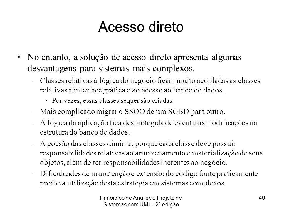 Princípios de Análise e Projeto de Sistemas com UML - 2ª edição 40 Acesso direto No entanto, a solução de acesso direto apresenta algumas desvantagens