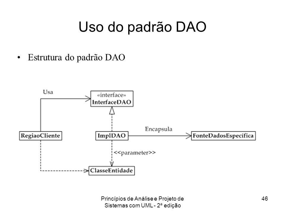 Princípios de Análise e Projeto de Sistemas com UML - 2ª edição 46 Uso do padrão DAO Estrutura do padrão DAO