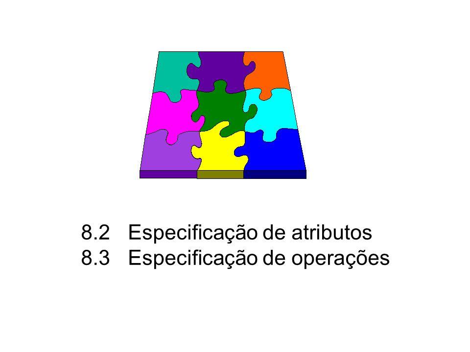 8.2Especificação de atributos 8.3Especificação de operações