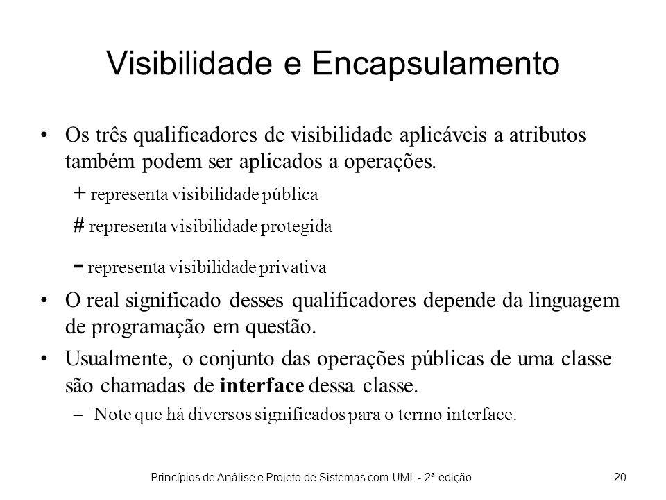 Princípios de Análise e Projeto de Sistemas com UML - 2ª edição20 Visibilidade e Encapsulamento Os três qualificadores de visibilidade aplicáveis a atributos também podem ser aplicados a operações.