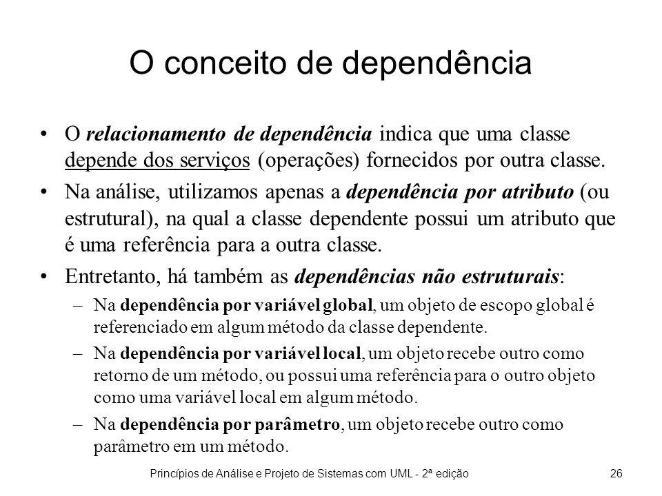 Princípios de Análise e Projeto de Sistemas com UML - 2ª edição26 O conceito de dependência O relacionamento de dependência indica que uma classe depende dos serviços (operações) fornecidos por outra classe.