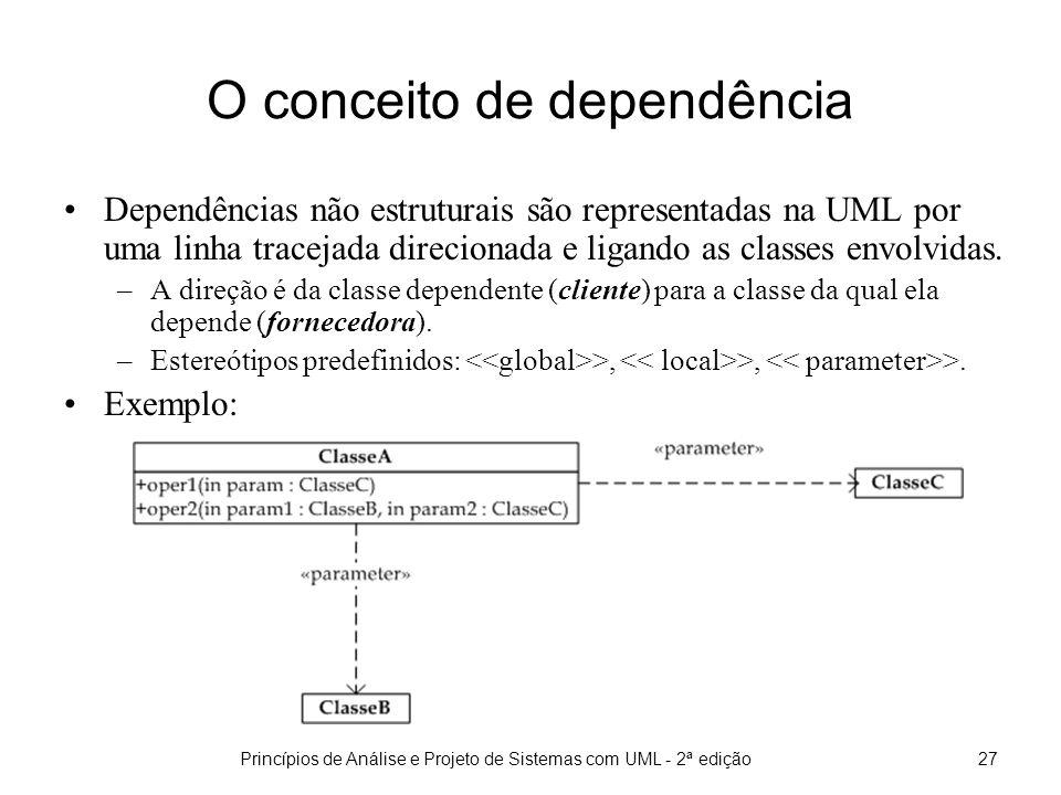 Princípios de Análise e Projeto de Sistemas com UML - 2ª edição27 O conceito de dependência Dependências não estruturais são representadas na UML por uma linha tracejada direcionada e ligando as classes envolvidas.