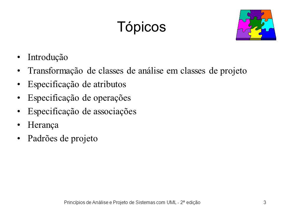 Princípios de Análise e Projeto de Sistemas com UML - 2ª edição3 Tópicos Introdução Transformação de classes de análise em classes de projeto Especificação de atributos Especificação de operações Especificação de associações Herança Padrões de projeto