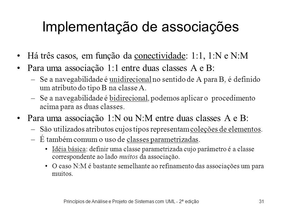 Princípios de Análise e Projeto de Sistemas com UML - 2ª edição31 Implementação de associações Há três casos, em função da conectividade: 1:1, 1:N e N:M Para uma associação 1:1 entre duas classes A e B: –Se a navegabilidade é unidirecional no sentido de A para B, é definido um atributo do tipo B na classe A.