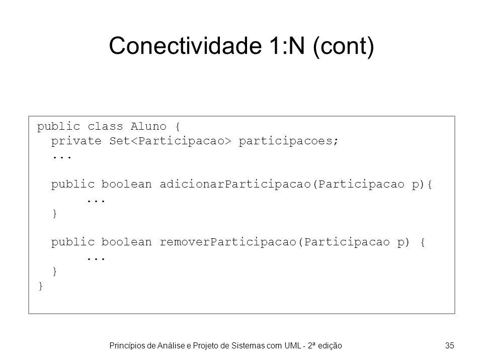 Princípios de Análise e Projeto de Sistemas com UML - 2ª edição35 Conectividade 1:N (cont) public class Aluno { private Set participacoes;...