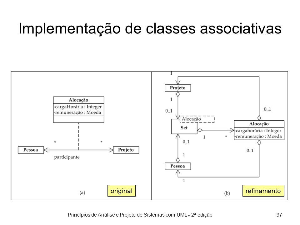 Princípios de Análise e Projeto de Sistemas com UML - 2ª edição37 Implementação de classes associativas refinamentooriginal