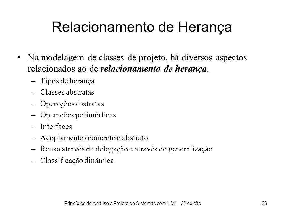 Princípios de Análise e Projeto de Sistemas com UML - 2ª edição39 Relacionamento de Herança Na modelagem de classes de projeto, há diversos aspectos relacionados ao de relacionamento de herança.