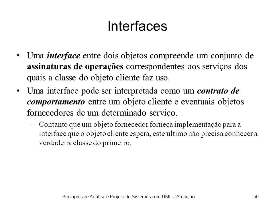 Princípios de Análise e Projeto de Sistemas com UML - 2ª edição50 Interfaces Uma interface entre dois objetos compreende um conjunto de assinaturas de operações correspondentes aos serviços dos quais a classe do objeto cliente faz uso.