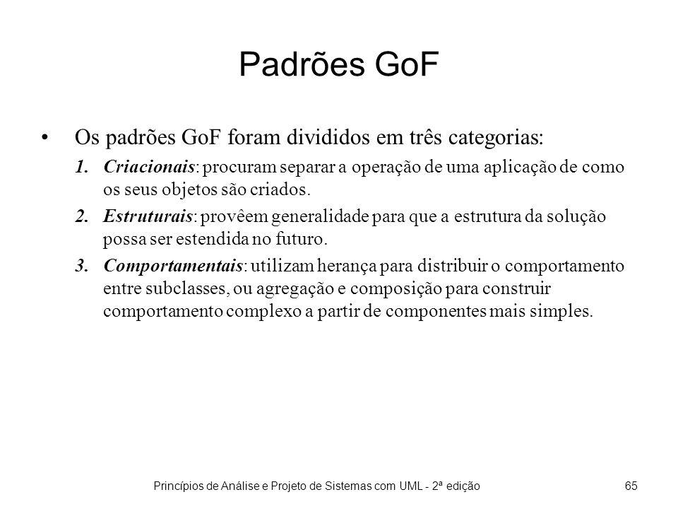 Princípios de Análise e Projeto de Sistemas com UML - 2ª edição65 Padrões GoF Os padrões GoF foram divididos em três categorias: 1.Criacionais: procuram separar a operação de uma aplicação de como os seus objetos são criados.