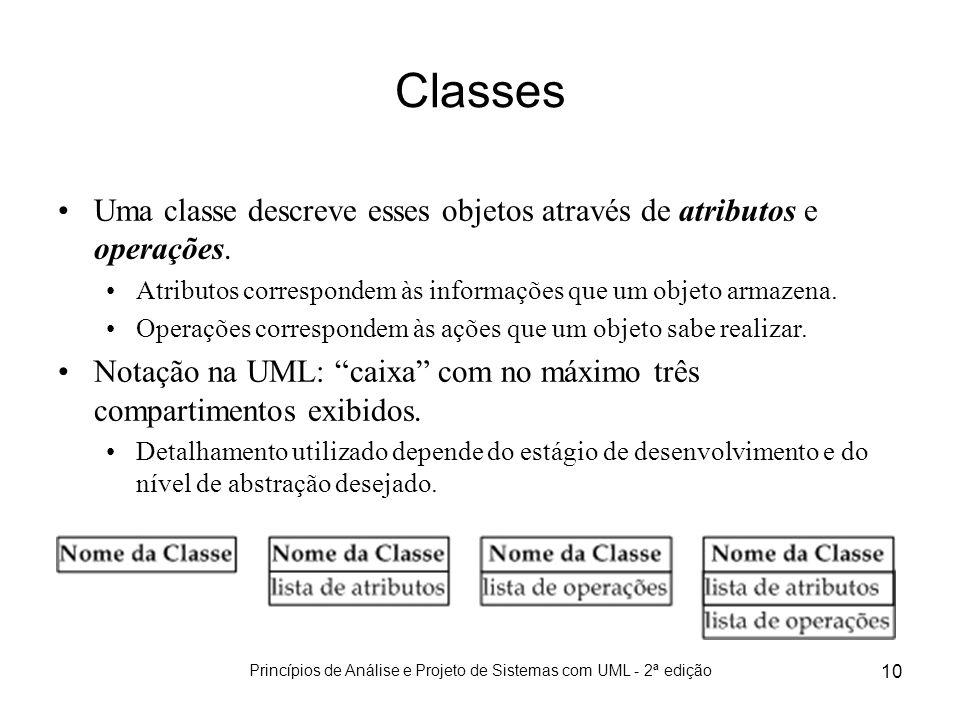 Princípios de Análise e Projeto de Sistemas com UML - 2ª edição 10 Classes Uma classe descreve esses objetos através de atributos e operações. Atribut