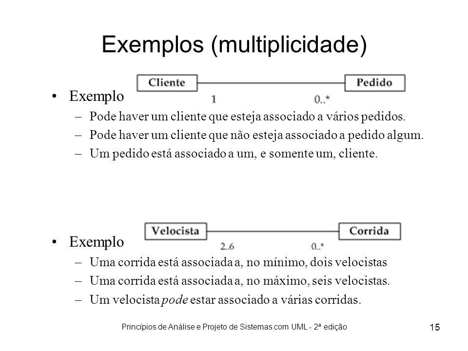Princípios de Análise e Projeto de Sistemas com UML - 2ª edição 15 Exemplos (multiplicidade) Exemplo –Pode haver um cliente que esteja associado a vár