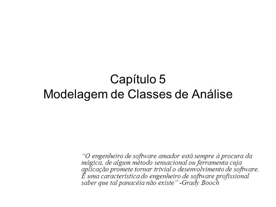 Capítulo 5 Modelagem de Classes de Análise O engenheiro de software amador está sempre à procura da mágica, de algum método sensacional ou ferramenta