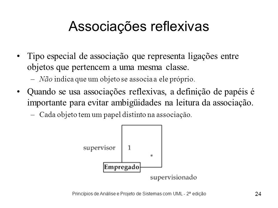 Princípios de Análise e Projeto de Sistemas com UML - 2ª edição 24 Associações reflexivas Tipo especial de associação que representa ligações entre ob