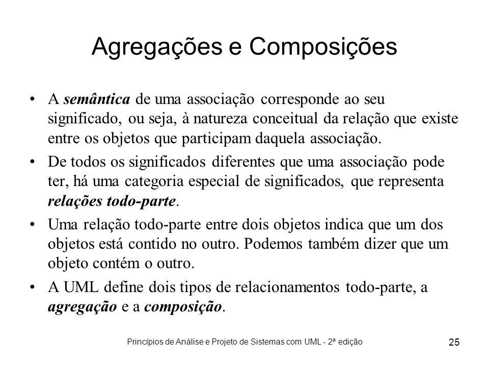 Princípios de Análise e Projeto de Sistemas com UML - 2ª edição 25 Agregações e Composições A semântica de uma associação corresponde ao seu significa