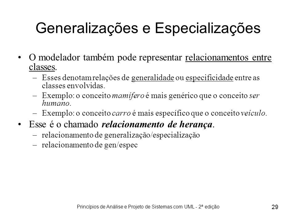 Princípios de Análise e Projeto de Sistemas com UML - 2ª edição 29 Generalizações e Especializações O modelador também pode representar relacionamento