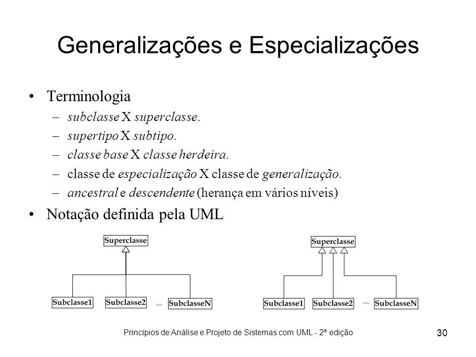 Princípios de Análise e Projeto de Sistemas com UML - 2ª edição 30 Generalizações e Especializações Terminologia –subclasse X superclasse. –supertipo