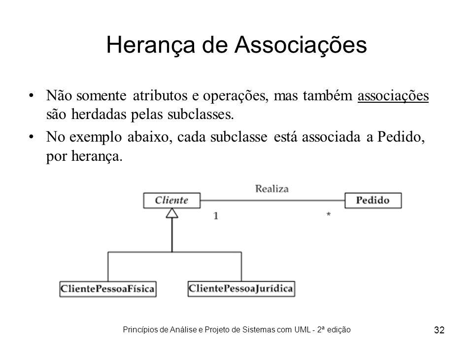 Princípios de Análise e Projeto de Sistemas com UML - 2ª edição 32 Herança de Associações Não somente atributos e operações, mas também associações sã