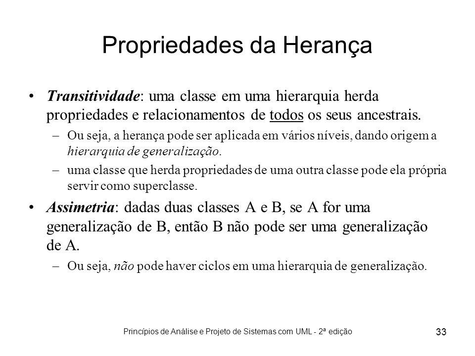 Princípios de Análise e Projeto de Sistemas com UML - 2ª edição 33 Propriedades da Herança Transitividade: uma classe em uma hierarquia herda propried