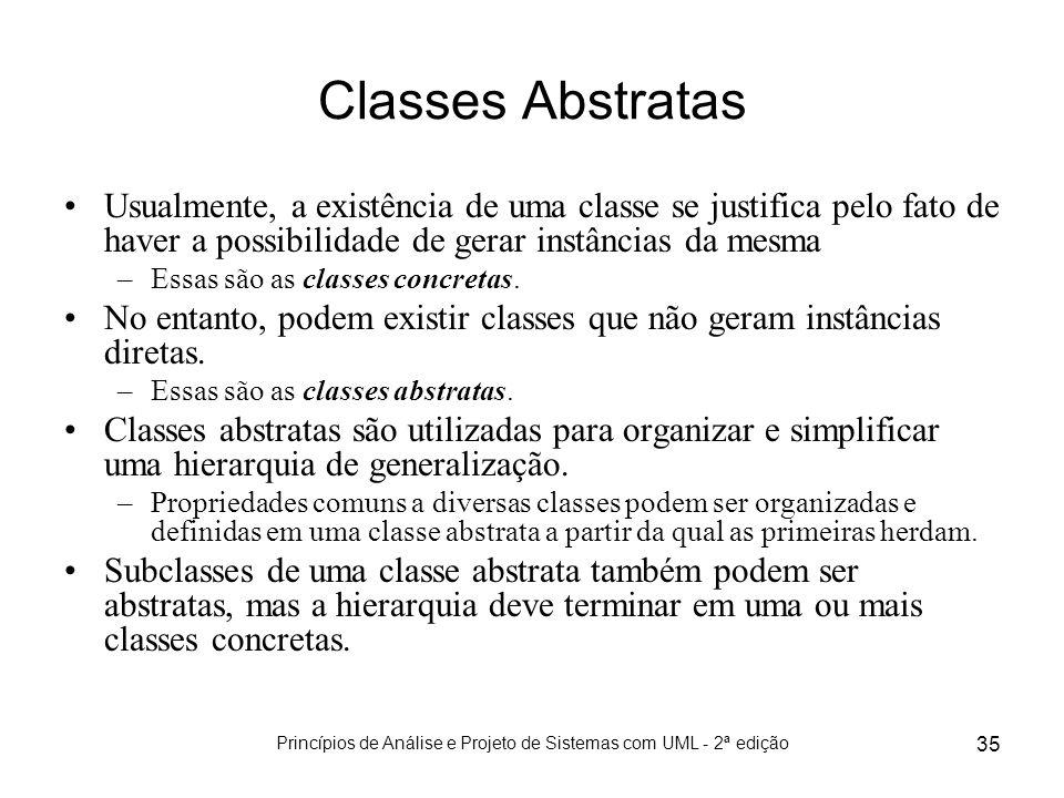 Princípios de Análise e Projeto de Sistemas com UML - 2ª edição 35 Classes Abstratas Usualmente, a existência de uma classe se justifica pelo fato de