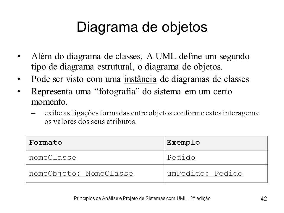 Princípios de Análise e Projeto de Sistemas com UML - 2ª edição 42 Diagrama de objetos Além do diagrama de classes, A UML define um segundo tipo de di