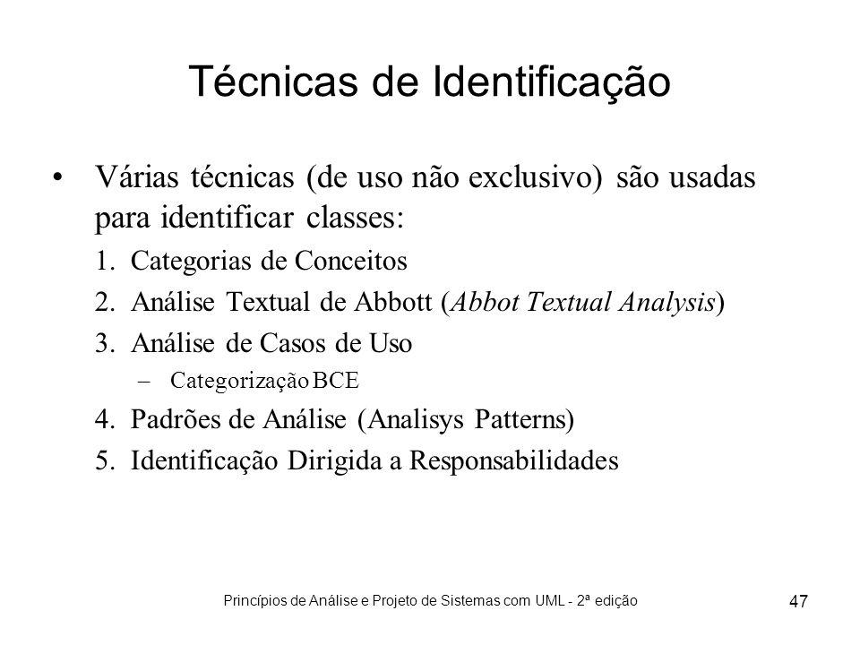 Princípios de Análise e Projeto de Sistemas com UML - 2ª edição 47 Técnicas de Identificação Várias técnicas (de uso não exclusivo) são usadas para id