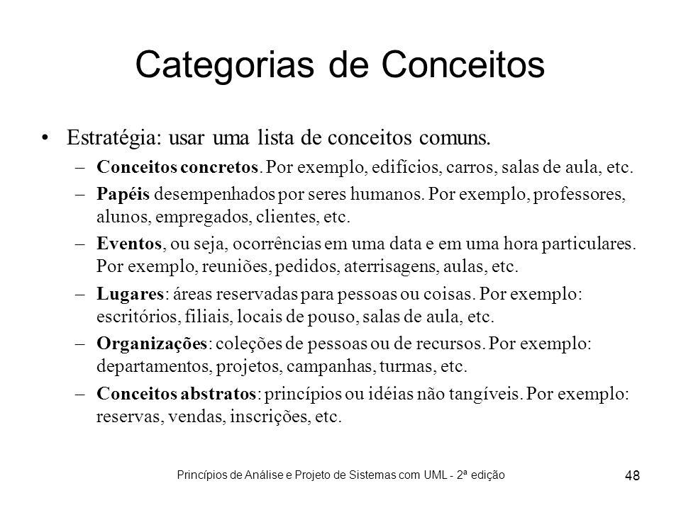 Princípios de Análise e Projeto de Sistemas com UML - 2ª edição 48 Categorias de Conceitos Estratégia: usar uma lista de conceitos comuns. –Conceitos