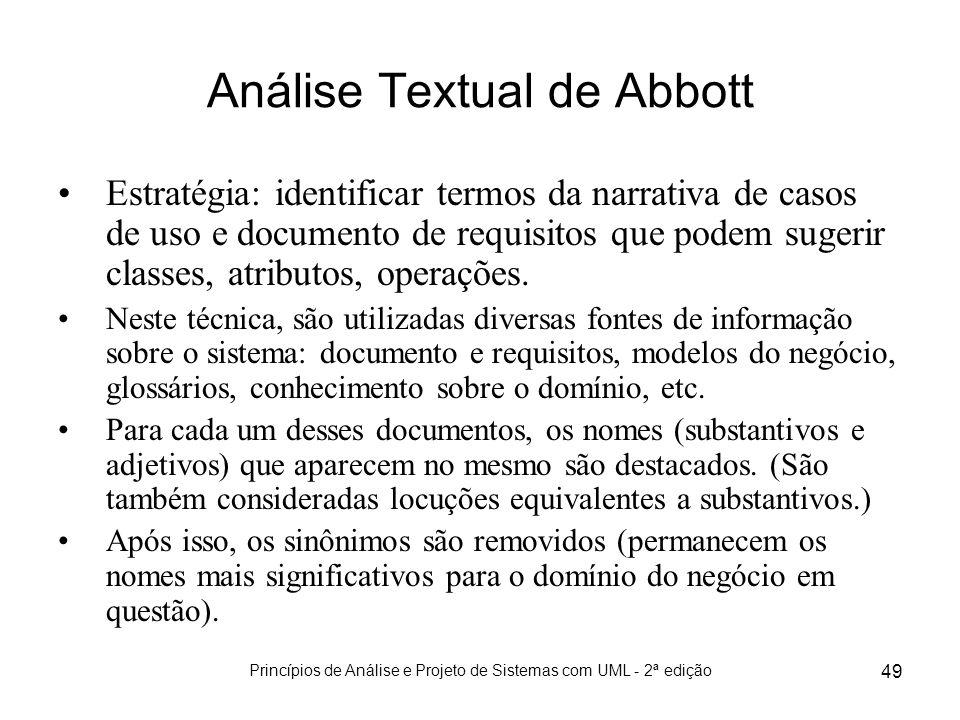 Princípios de Análise e Projeto de Sistemas com UML - 2ª edição 49 Análise Textual de Abbott Estratégia: identificar termos da narrativa de casos de u
