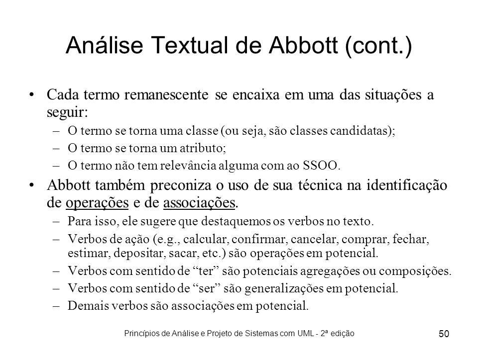 Princípios de Análise e Projeto de Sistemas com UML - 2ª edição 50 Análise Textual de Abbott (cont.) Cada termo remanescente se encaixa em uma das sit