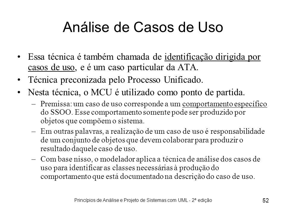 Princípios de Análise e Projeto de Sistemas com UML - 2ª edição 52 Análise de Casos de Uso Essa técnica é também chamada de identificação dirigida por