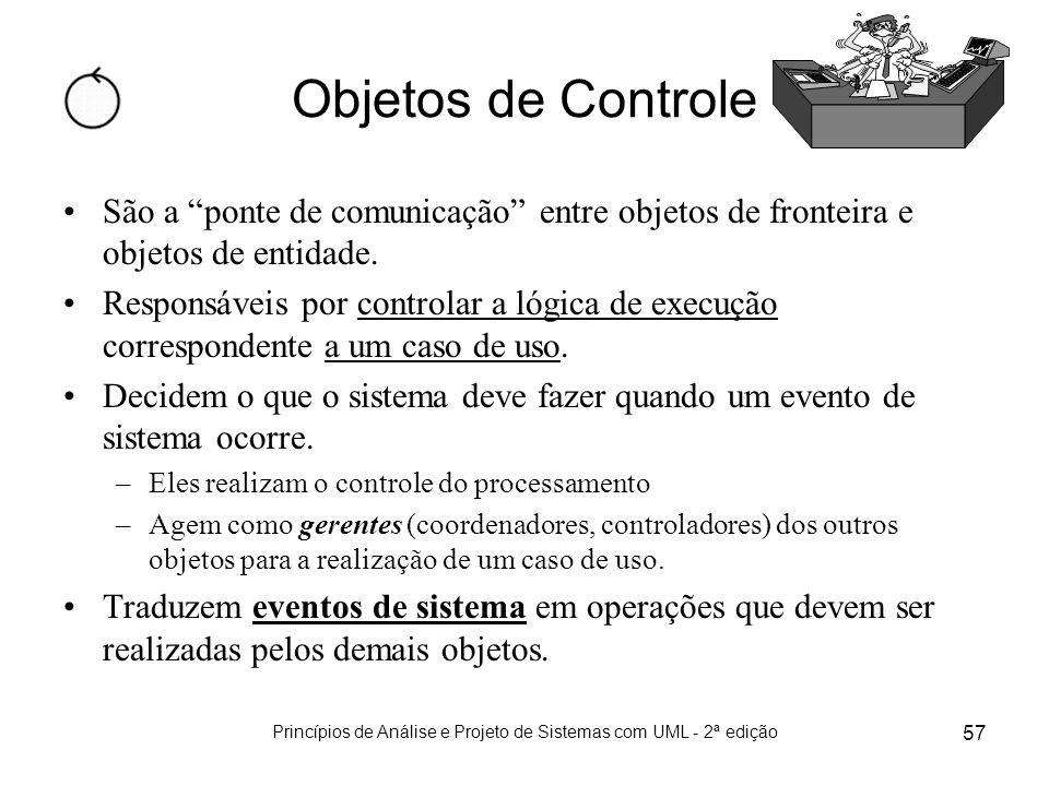 Princípios de Análise e Projeto de Sistemas com UML - 2ª edição 57 Objetos de Controle São a ponte de comunicação entre objetos de fronteira e objetos
